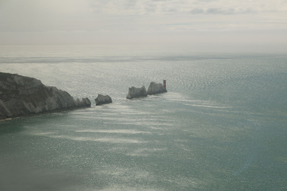 Birds Eye View of the Needles from the helicopter
